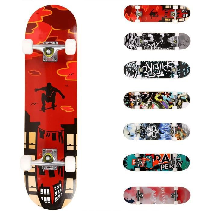 adolescents et adultes plateau double Kick Deck concave Cruiser Trick Skull Skateboard 78,7 x 20,3 cm avec roulement ABEC-7 et roue 95A Skateboard complet pour d/ébutants charge de 99,8 kg plateau en /érable dur 8 couches pour enfants