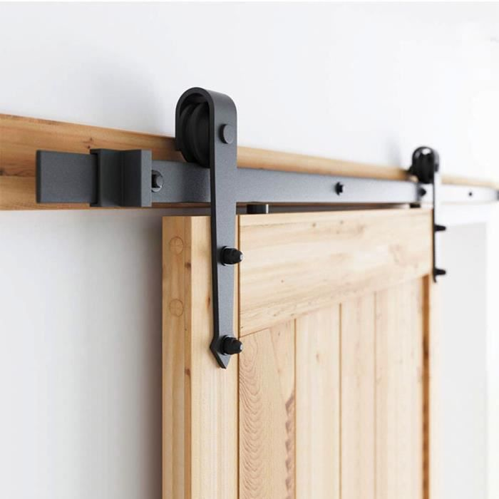 Syst/ème de porte coulissante avec roulettes et rail de 2 m/ètres Syst/ème de porte coulissante