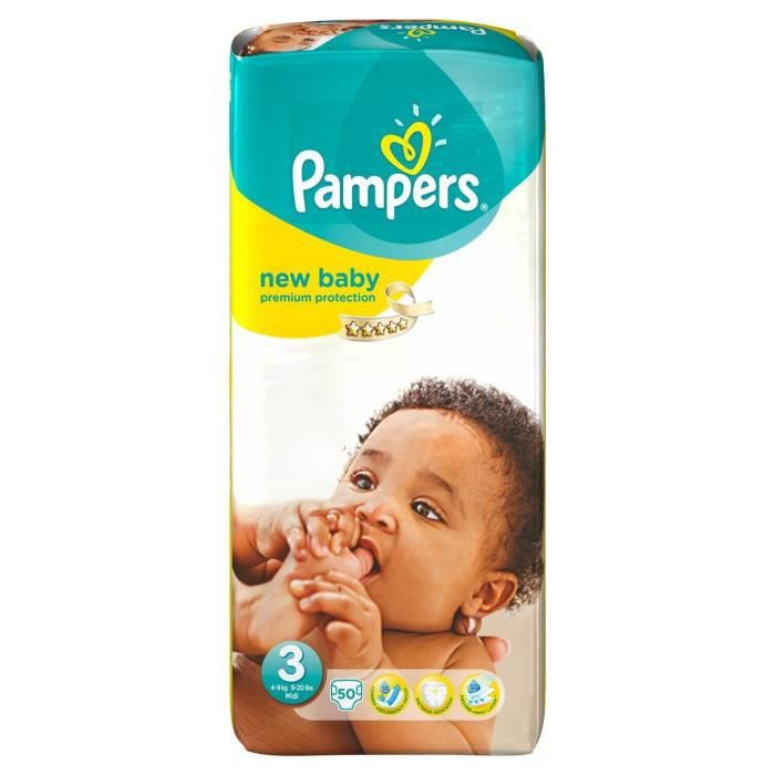 Pampers new baby 2 x 50 couches taille 3 midi g ant 4 9 kg - Prix couches pampers new baby taille 1 ...