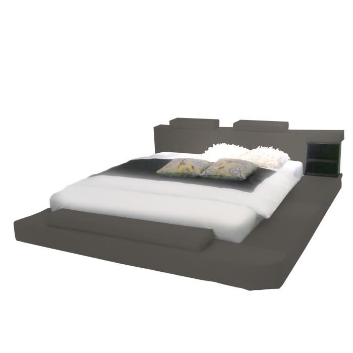 Lit chambre coucher nuptia taupe achat vente for Chambre a coucher taupe