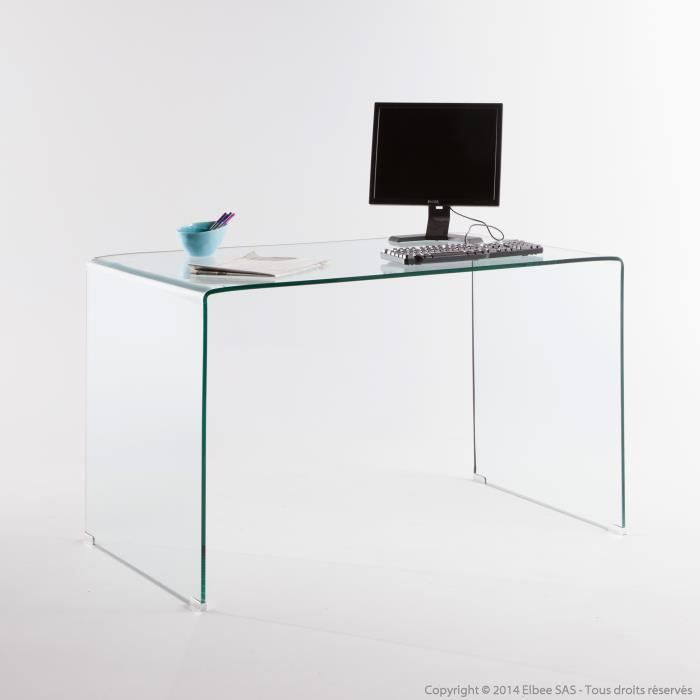 bureau en verre tremp longueur 125 cm cristal transparent On bureau verre trempe
