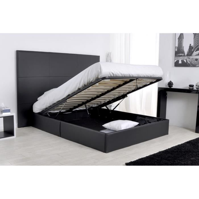 lit 2 personnes noir maison design. Black Bedroom Furniture Sets. Home Design Ideas