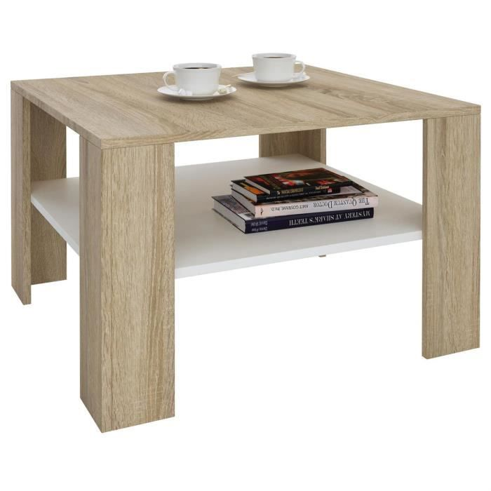 table basse sejour d cor ch ne sonoma et blanc achat. Black Bedroom Furniture Sets. Home Design Ideas