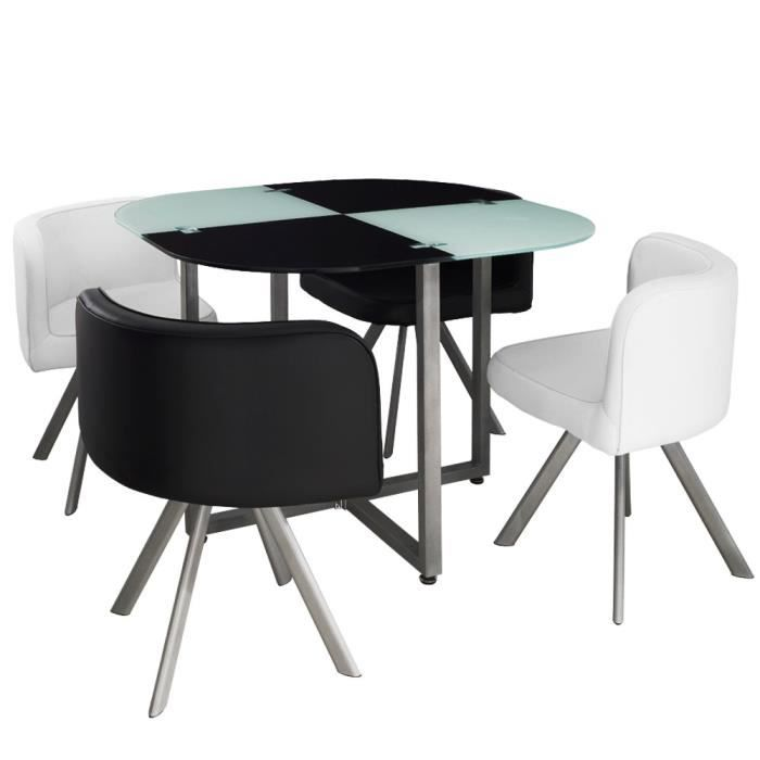 table et chaises mosaic 90 blanc et noir achat vente table a manger complet table et chaises. Black Bedroom Furniture Sets. Home Design Ideas