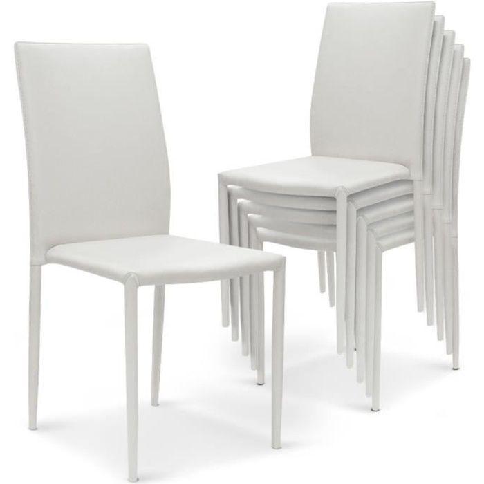 de SimiliP Modan UBlanc empilables Lot Achat 6 chaises wkOPn0