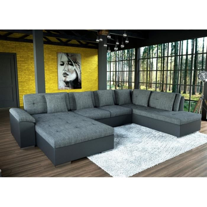 canap d 39 angle xxl smile en gris et noir tendance design achat vente canap sofa divan. Black Bedroom Furniture Sets. Home Design Ideas