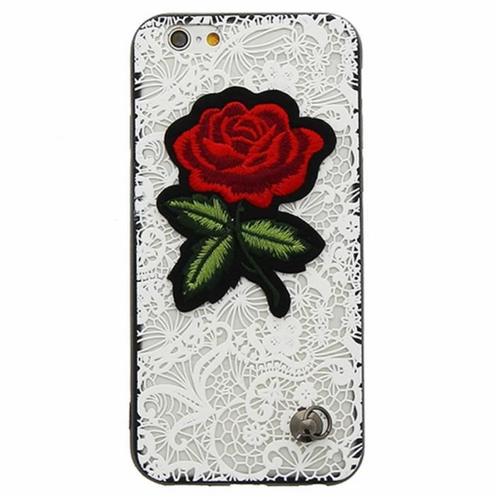 coque iphone 6 6s dentelle blanche fleur brodee