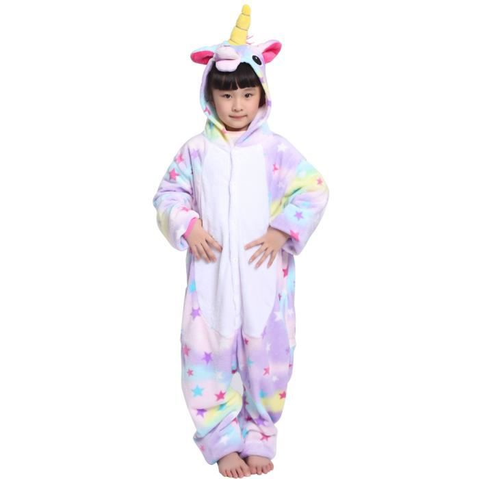 kigurumi pyjama licorne enfant avec toiles combinaison pyjama licorne flanelle cosplay costume. Black Bedroom Furniture Sets. Home Design Ideas