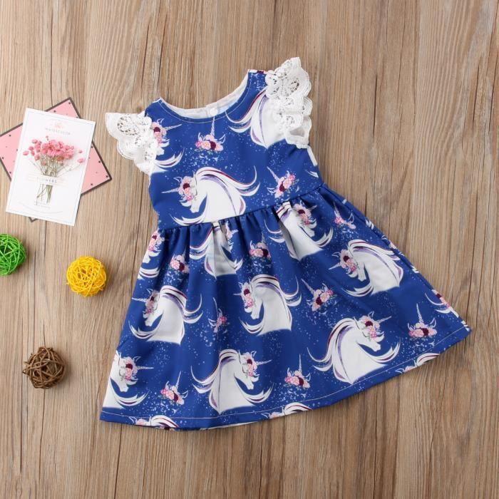 Enfant bébé fille sans manches Dessin Animé Imprimé Fête Princesse Pageant Dresses