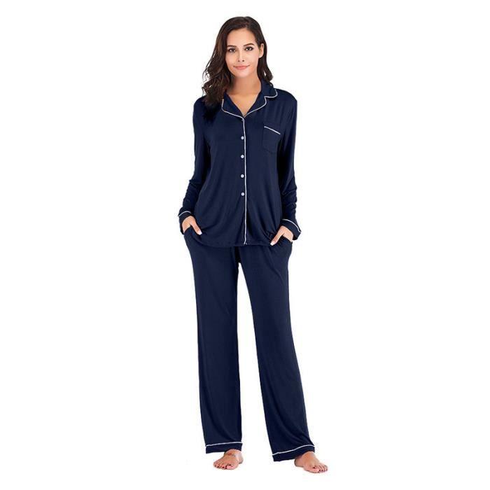 Textile Veste pantalon Couleur Unie Femme Pyjama zVSUMp