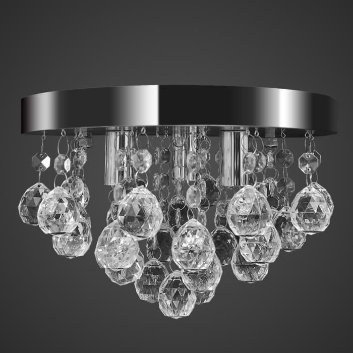 lustre plafonnier contemporain cristal lampe chrom achat. Black Bedroom Furniture Sets. Home Design Ideas