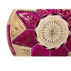 POUF MAROCAIN CUIR TRADITIONNEL Pouf bicolore Rose et beige ...