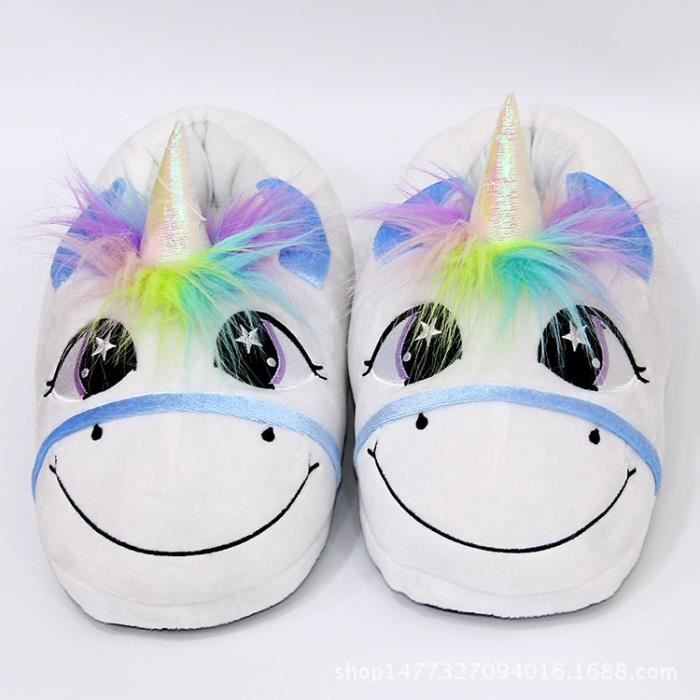New Home Cartoon Licorne Réchauffez coton en peluche chaussons drôle Chaussons de monstre animal pour Grown Ups Indoor \ Chaussures 2StEW7aF