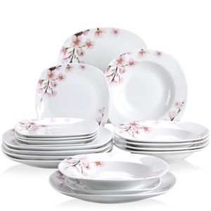 ASSIETTE Veweet ANNIE 18pcs Assiettes Service de Table Poce