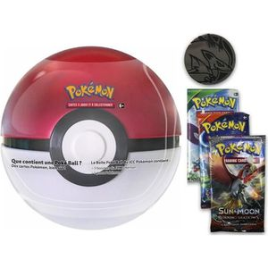 CARTE A COLLECTIONNER POKEBALL TIN ROUGE ET BLANCE : 3 BOOSTER ET UNE PI