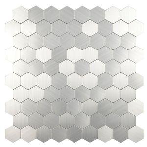 CARRELAGE - PAREMENT Mosaïque adhésive en acier - 30,5 x 30,5 cm - Gris