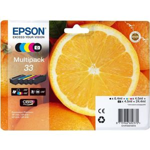 CARTOUCHE IMPRIMANTE Epson 33 Multipack Pack de 5 24.4 ml noir, jaune,