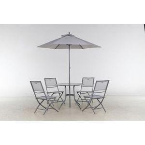 Salon de terrasse Ajaccio - 6 pièces - Gris chiné - Achat ...