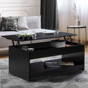 TABLE BASSE Table basse plateau relevable Soa bois noire