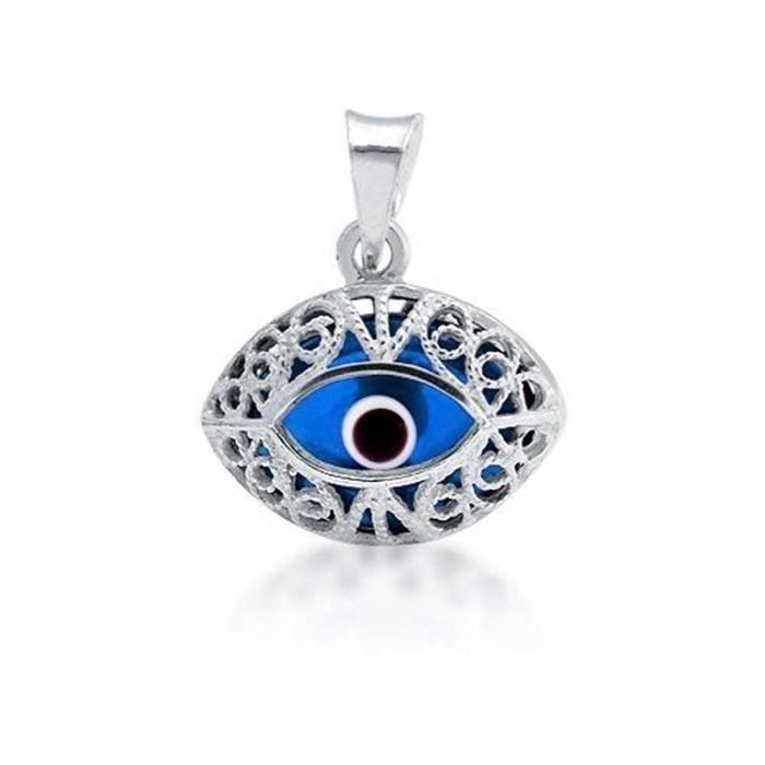 Chaine De Cou Vendue Seule Femmes en verre bleu mauvais oeil Filigrane pendentif en argent sterling G0E3O