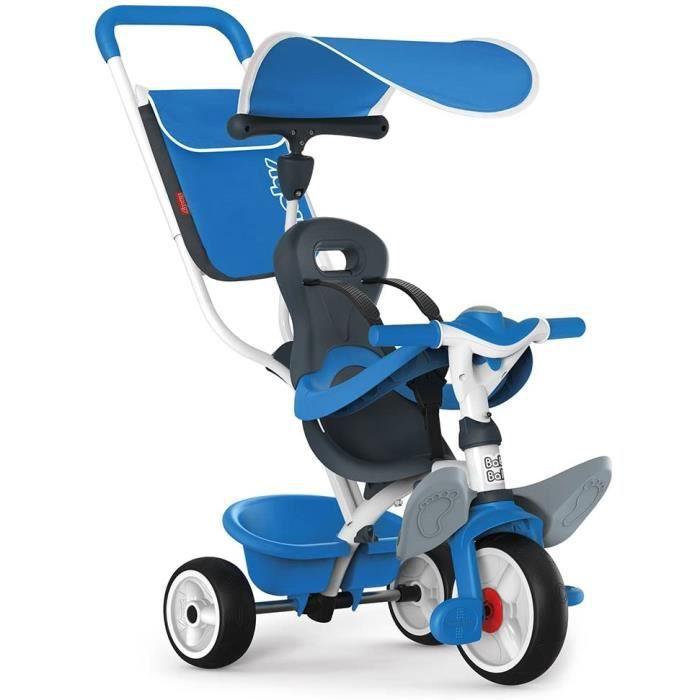 Smoby - 741102 - Tricycle Baby Balade 2 - Tricycle Evolutif avec Roues Silencieuses - Dispositif Roue Libre - Bleu