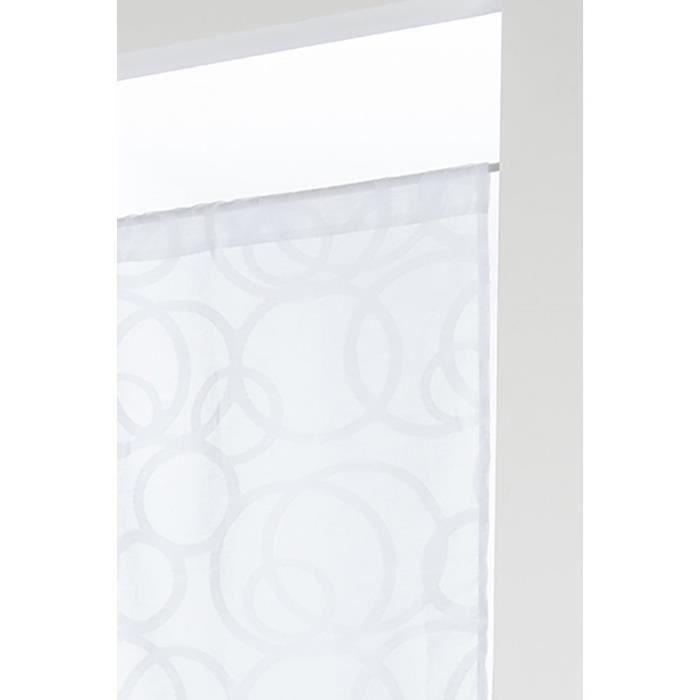 Paire de Vitrages Style Scandinave à Passe Tringle 60 x 120 cm Motif Contemporain Ronds Brodés Blanc