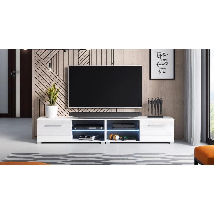 Décoro Décoro Meuble TV design MAGNUM (200 cm) couleur blanc et blanc brillant avec l'éclairage à la LED.