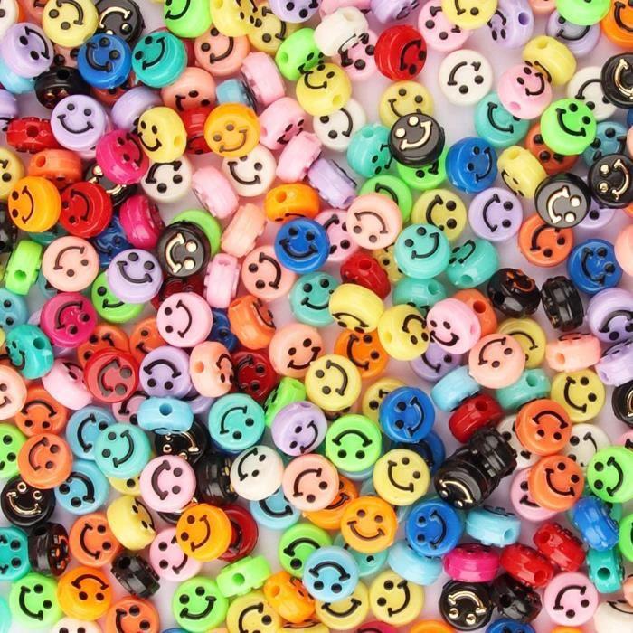 Perles de sourire, Perles colorées, Perles enfant, Perles pour bracelet, Perles pour bijoux, 200pcs Sourire Perles avec Grand Trou