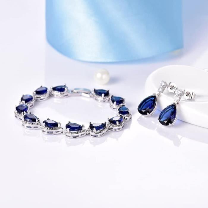 GULICX Boucles d'oreilles Saphir Rubis Bracelet Zircon Cubique Goutte d'eau en Swarovski Elément, Bijoux pour Femme[448]