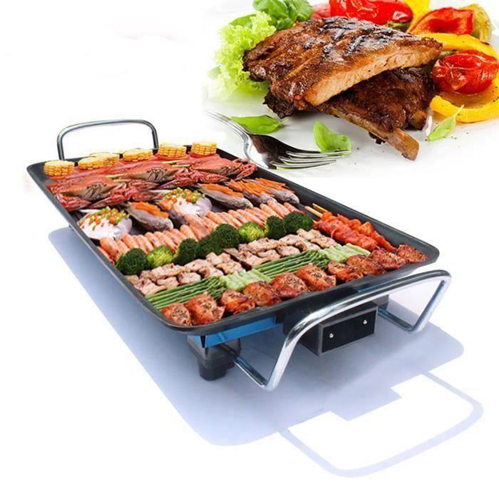 TEMSPA Plancha Électrique Grill Viande 1500W de Table Barbecue 5-Niveaux de Température - Party Fête ma46320
