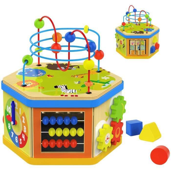 TOP BRIGHT Jouet Cube Bébé en Bois pour Enfant,7 en 1 Cube D'activité Educatif Labyrinthe Perle Trieur de Forme pour 2 Ans,Cadeau po