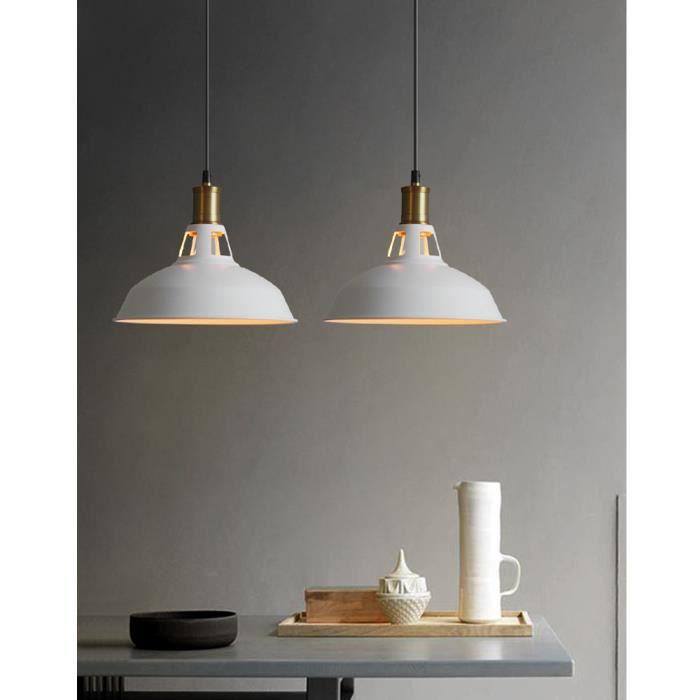 Gobel 2pcs E27 Lustre vintage de style industriel Plafonnier de chambre blanc