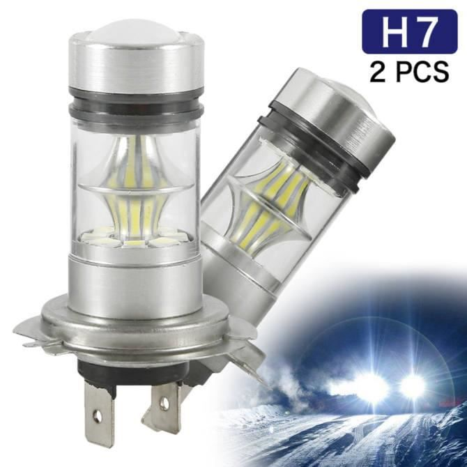 Phare LED 2pcs H7 LED phare de phare de phare Remplacer les ampoules Globes blancs halogènes HID halogen 100W 6000K