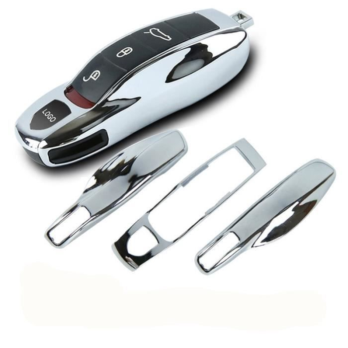 Coque clé,Coque pour clé télécommande, 3 pièces miroir, argent chromé, Fob, pour Porsche Boxster, Cayman 911 - Type Silver
