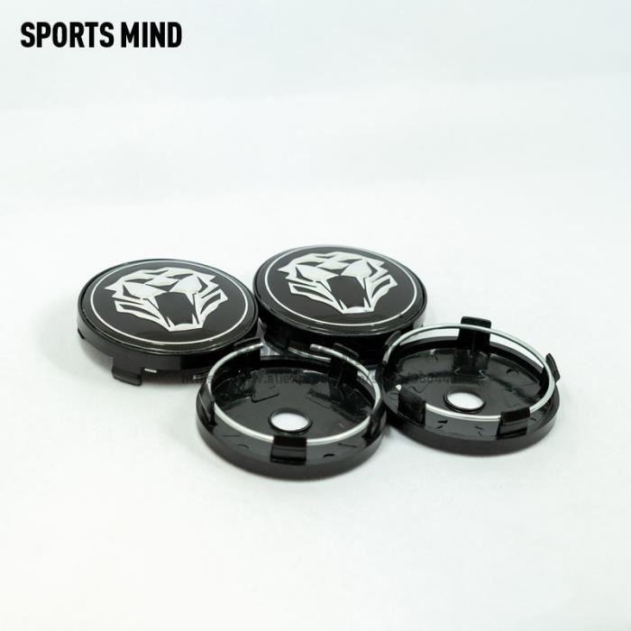 BLACK -Centre de roue de voiture avec tête de tigre, 60MM, 4 PCS-lot, pour Jaguar, Audi, BMW, Nissan, Toyota, Mazda, accessoires de