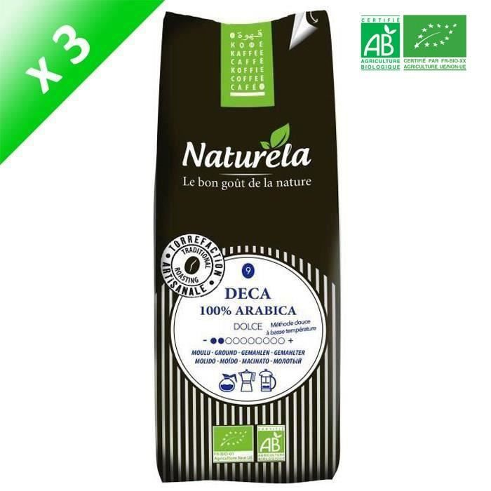 [LOT DE 3] Naturela -250g- Café Deca 100% Arabica Moulu n° 9 Bio