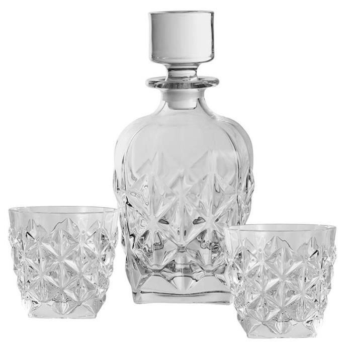 Coffret carafe et verres whisky cristal 09x23 cm 09 cm Verre