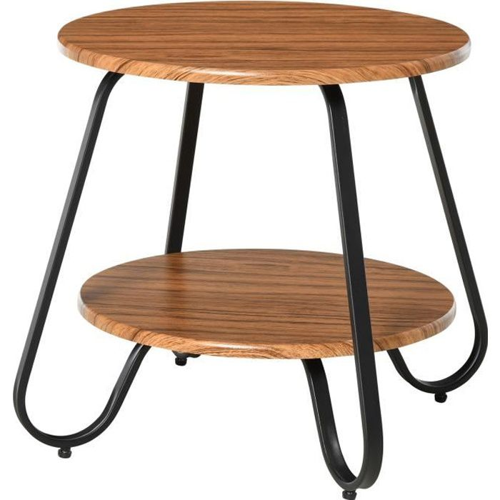 Table basse table d'appoint guéridon bout de canapé design néo-rétro 2 niveaux panneaux particules bois noyer métal noir 50x50x46cm