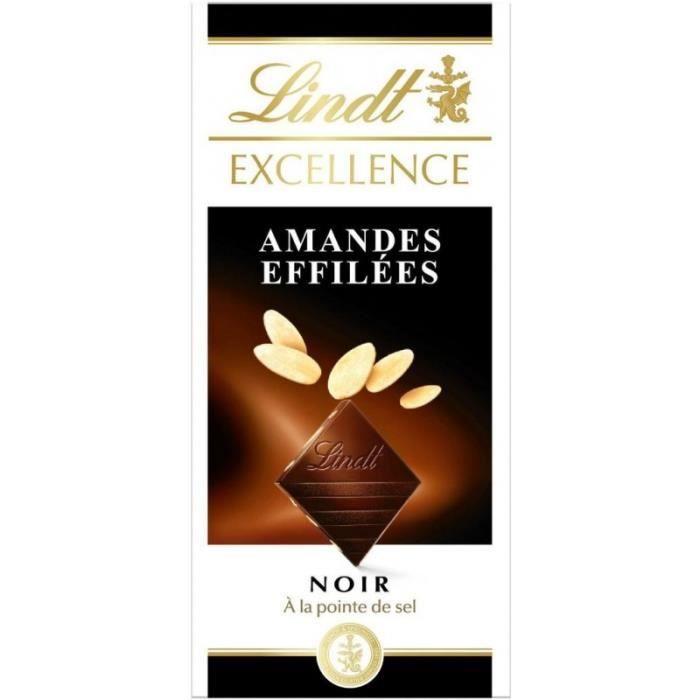 Lindt Excellence Noir à la Pointe de Sel Amandes Effilées 100g (lot de 8)