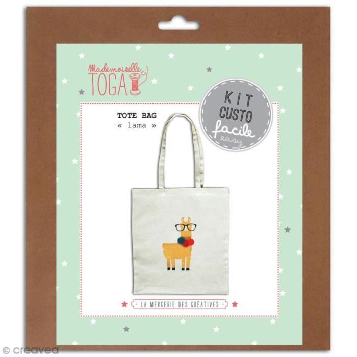 Kit Tote bag à décorer 38 x 40 - Blanc - Lama et pompons Kit ote bag à décorer tissu Blanc, par Mademoiselle oganbsp: Dimensions :