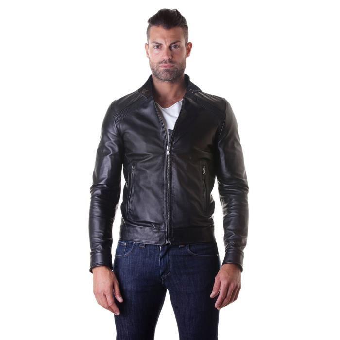 Blouson cuir noir veste moto surpiqures aux épaules cuir plongé