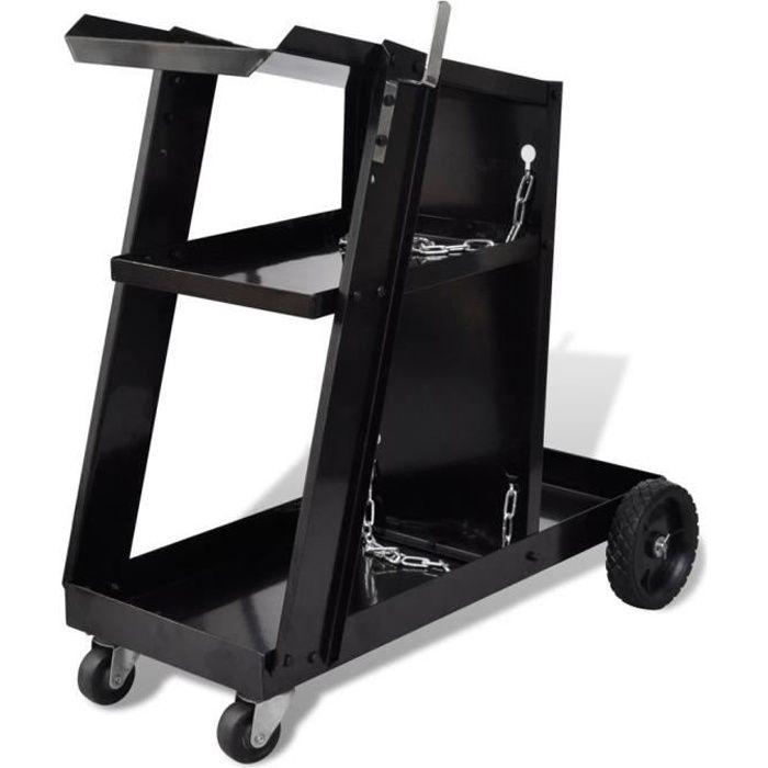 Chariot pour poste de soudure avec 3 étagères Noir