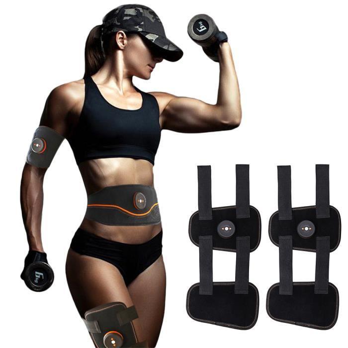 Electrostimulateur Musculaire Entraînement Cuisse Muscle EMS Forme d'exercice Fitness,Ceinture Abdominale USB Charge