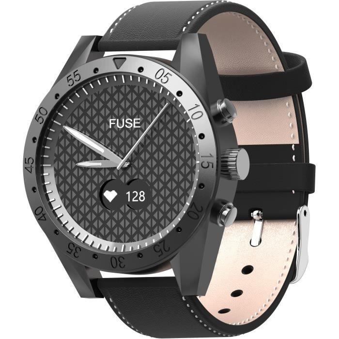 WEE'PLUG Fuse HR Montre connectée hybrid - Smartwatch élégante - Cardio - Bluetooth - Noir