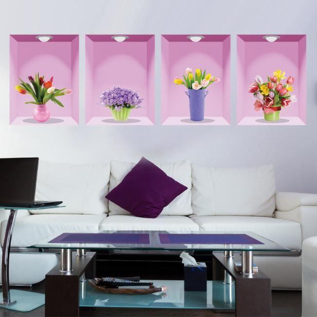 VASE - SOLIFLORE Autocollant mural décoratif 3D série fraîche vase