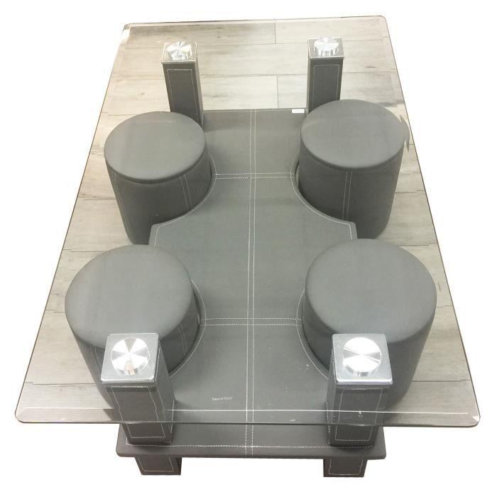Table Basse Grise Avec 4 Poufs Achat Vente Table Basse Table Basse Grise Avec 4 Po Cdiscount