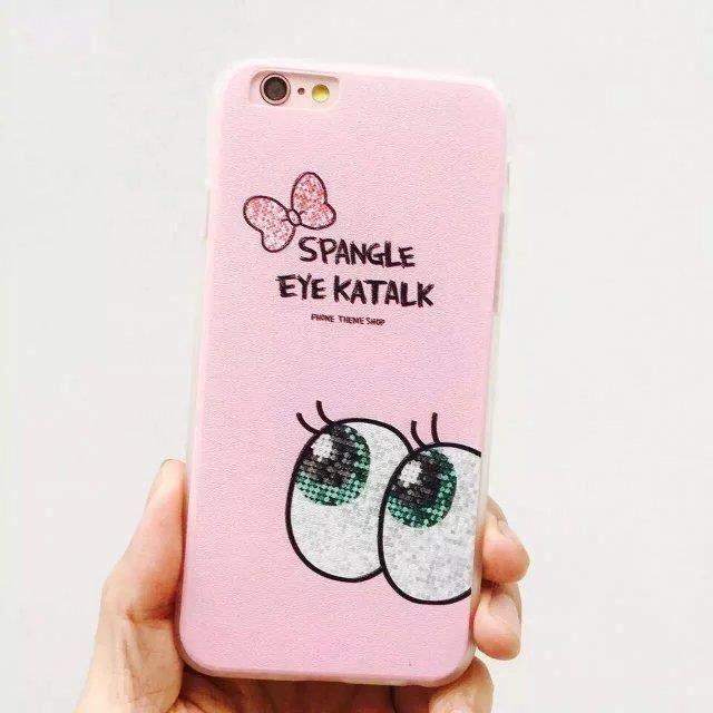 Coque iPhone 6 Plus / 6S plus rose bowknot wow oeil paillette ...