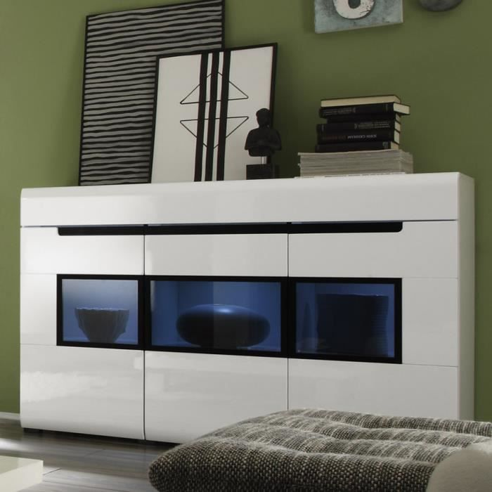 bahut vitrine blanc laqu design orfa clairage led en. Black Bedroom Furniture Sets. Home Design Ideas
