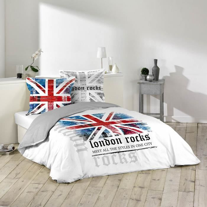 housse de couette 220x240 100 coton london rocks blanc 2 taies achat vente housse de. Black Bedroom Furniture Sets. Home Design Ideas