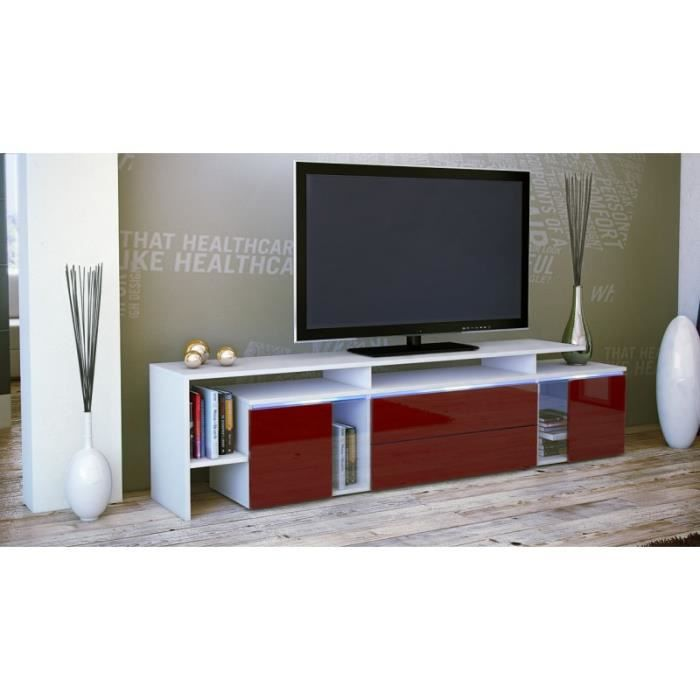 meuble tv design blanc et bordeaux avec led 187 cm achat vente meuble tv meuble tv design. Black Bedroom Furniture Sets. Home Design Ideas